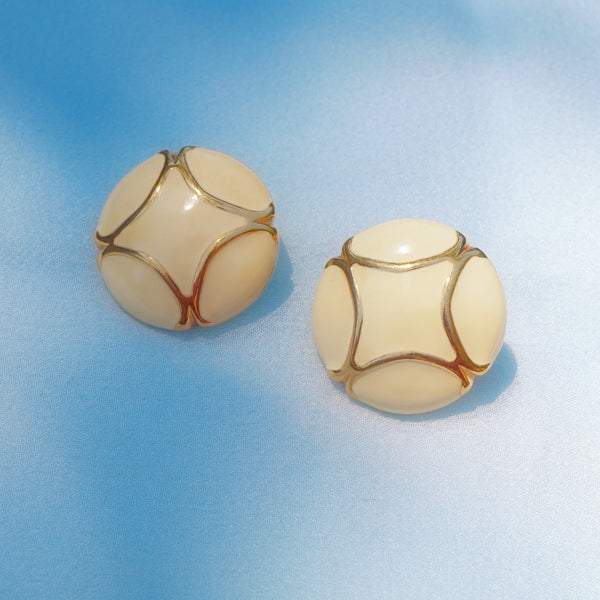 Vintage Gilt & Cream Enamel Button Earrings by Monet, 1980s