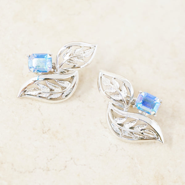 Vintage Silver Leaves & Aurora Borealis Blue Crystal Statement Earrings, 1950s