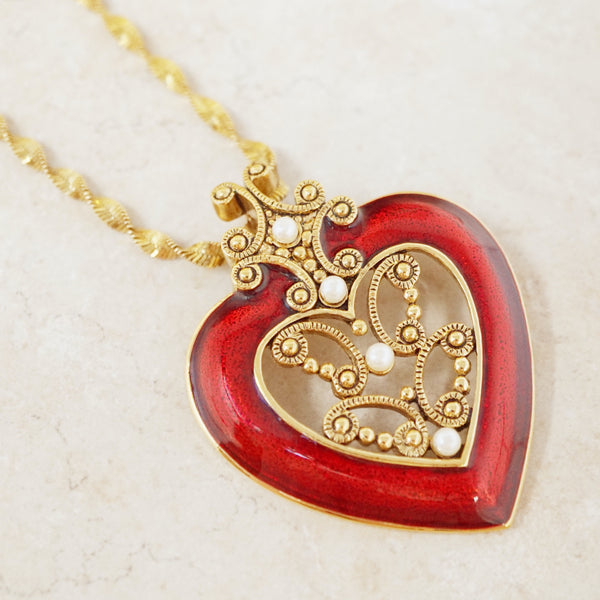 Vintage Red Enamel Heart Pendant by Avon on Gold Vermeil Twisted Chain, 1980s