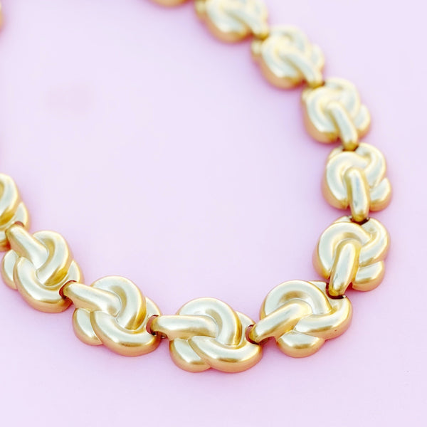 Vintage Gilded Knot Link Choker Necklace by Anne Klein, 1980s
