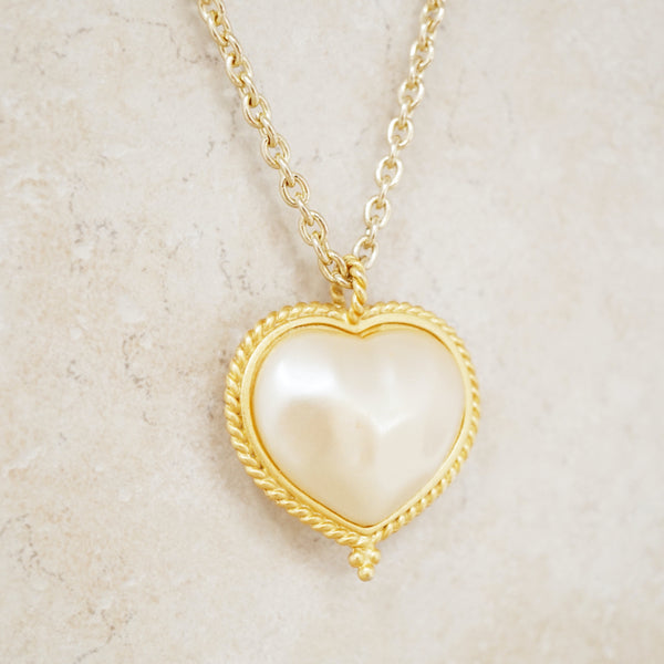 Vintage Baroque Pearl Heart Necklace, 1980s
