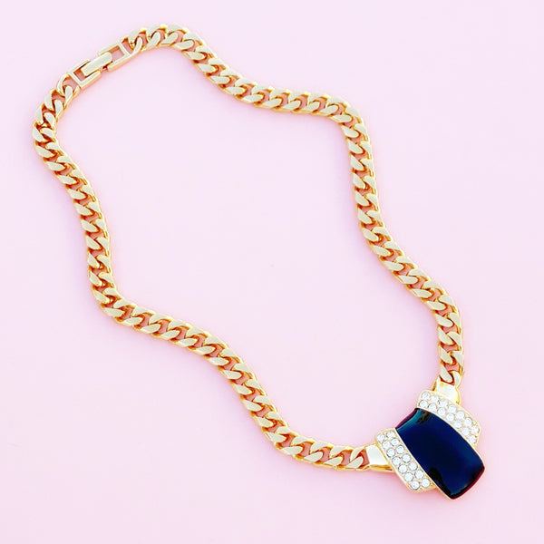 Vintage Gilt & Black Enamel Art Deco Style Curb Chain Necklace By Monet, 1980s