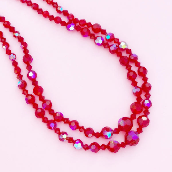 Vintage Two Strand Aurora Borealis Ruby Red Crystal Necklace, 1960s