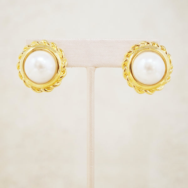 Vintage Gilt & Pearl Button Earrings by Anne Klein, 1980s