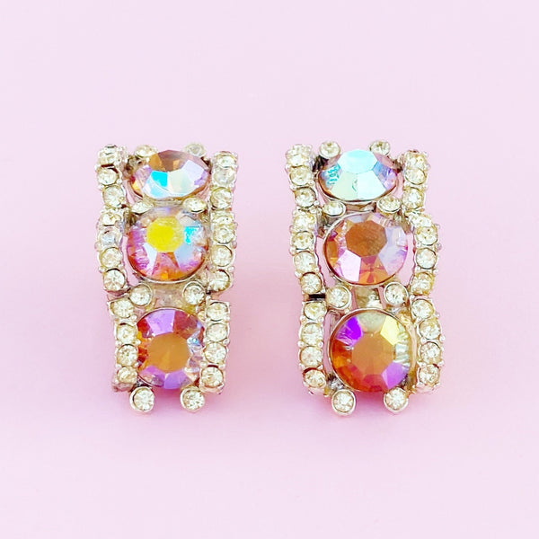 Pink Aurora Borealis Crystal Climber Earrings, 1960s