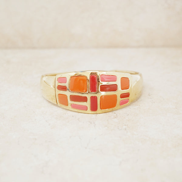 Vintage Abstract Enamel Block Cuff Bracelet, 1990s
