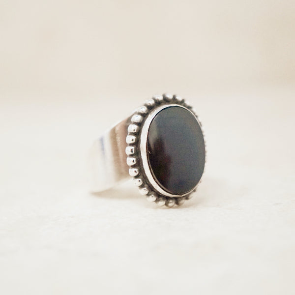 Vintage Sterling Silver & Onyx Adjustable Ring