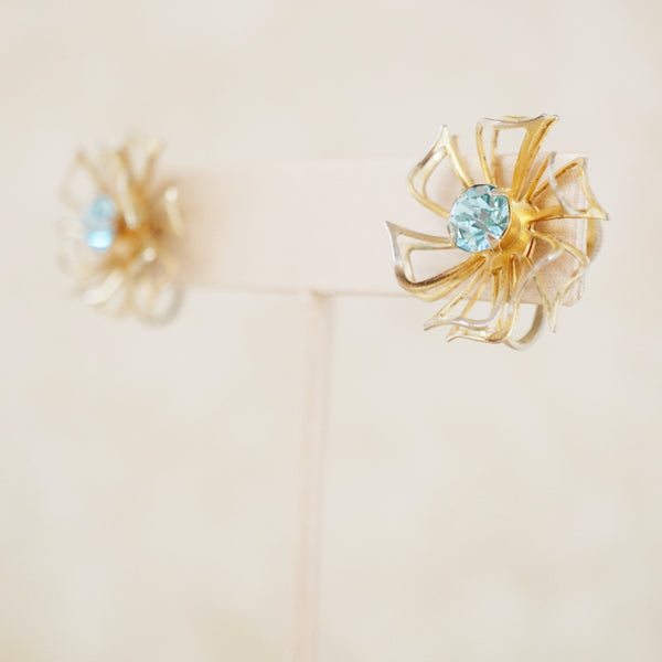 Vintage Blue Crystal Pinwheel Earrings