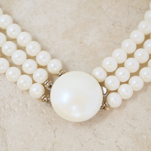 Vintage Triple Strand Iridescent Faux Pearl Necklace, 1960s