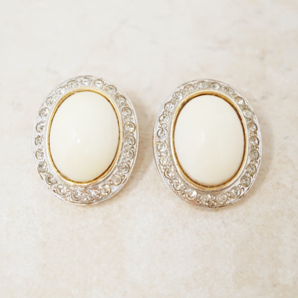 Vintage Milk Glass Cabochon with Crystal Halo Earrings, 1960s