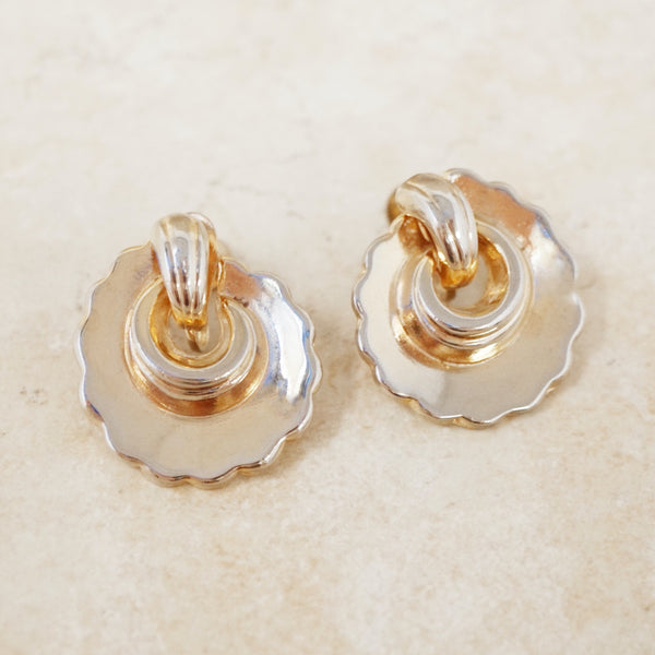 Vintage Gilded Scalloped Swirl Earrings, 1940s
