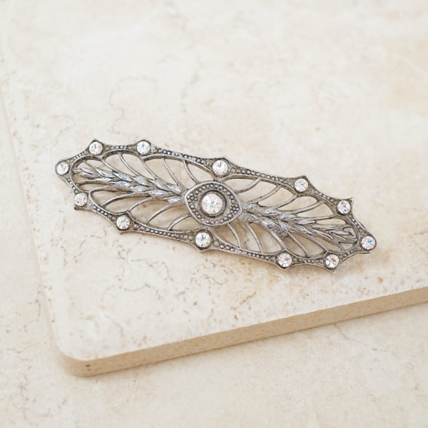 Vintage Art Nouveau Revival Filigree Brooch with Rhinestones, 1960s