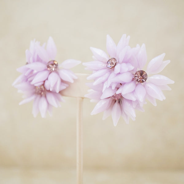 Vintage Lilac Plastic Flower Statement Earrings, 1960s