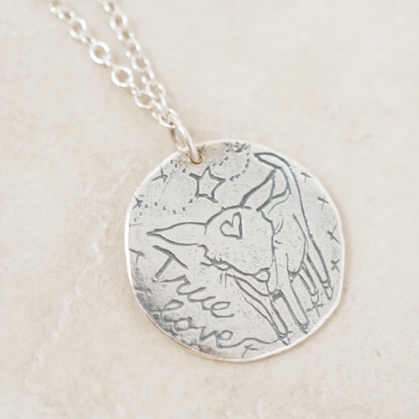 Sterling Silver Dog Coin Pendant Necklace by Jes Maharry