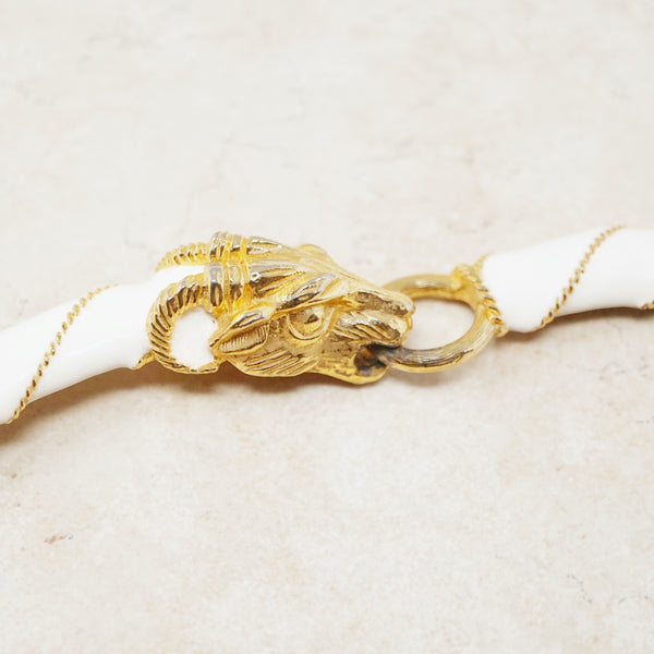 Vintage Gilt & Cream Enamel Ram's Head Choker Necklace by Donald Stannard, 1970s