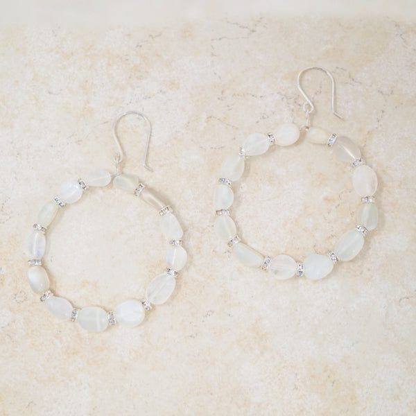 Moonstone Nugget Hoop Earrings
