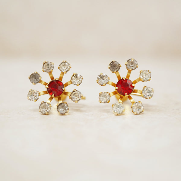 Vintage Rhinestone Flower Earrings by Bugbee & Niles, 1940s