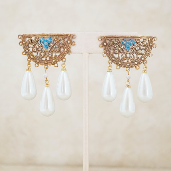 Vintage Filigree Statement Earrings with Pearl Dangle, 1960s