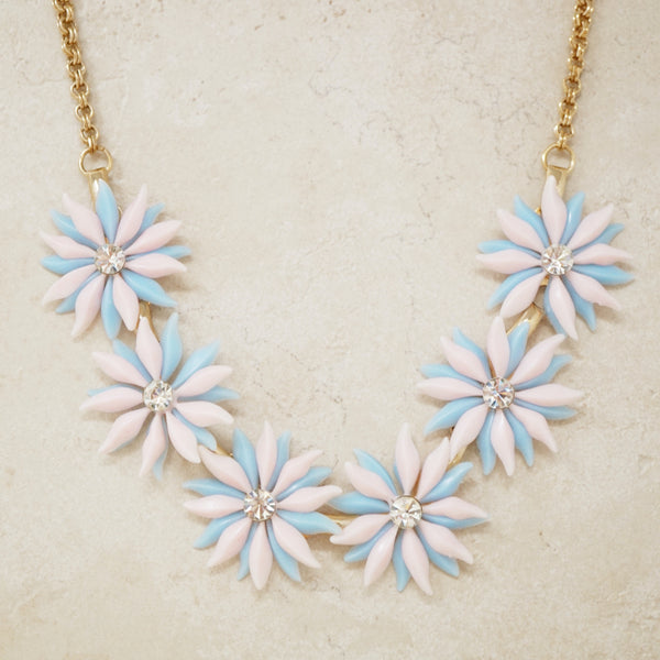 Vintage Baby Blue & Pink Plastic Flower Necklace, 1960s