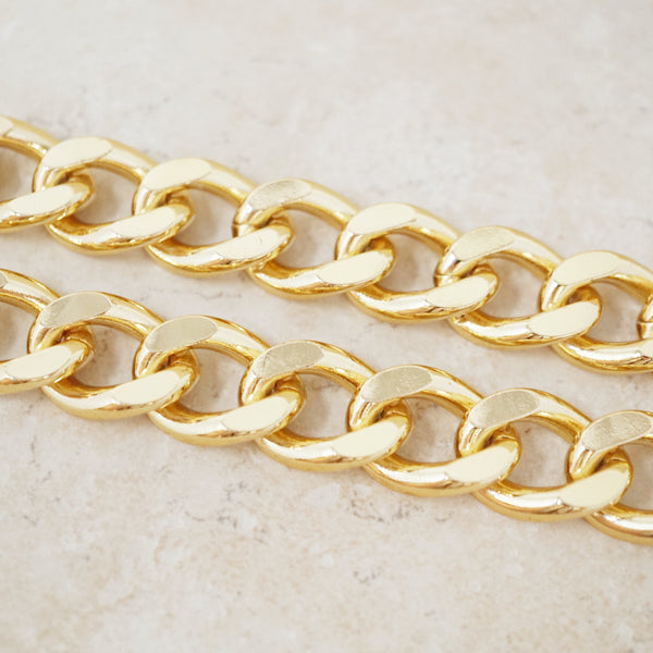 Vintage Heavy Gold Plate Curb Chain Necklace, 1990s