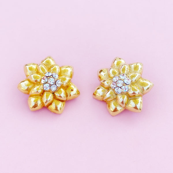 Vintage Gilded Flower Statement Earrings By Lorenz Baumer, 1980s