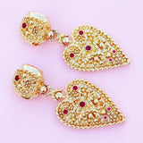 Vintage Oversized Gilded Ornate Heart Drop Earrings with Ruby Red Crystal Accents by Nina Ricci, 1980s