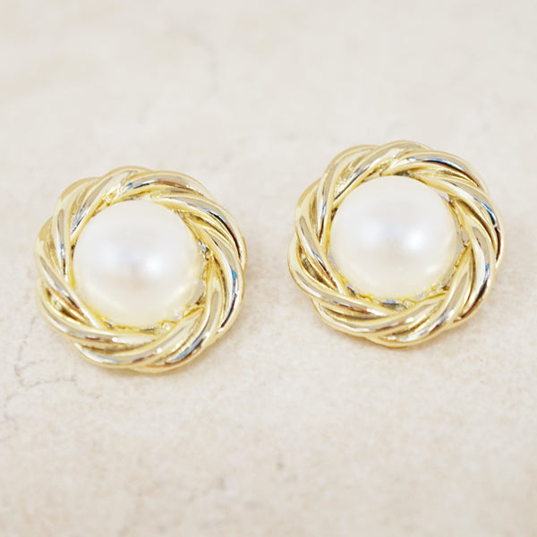 Vintage Gold Faux Pearl Button Earrings, 1980s