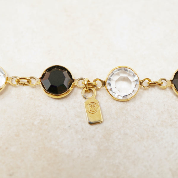 "Vintage 36"" Onyx & Clear Swarovski Crystal Gold Bezel Station Necklace by Swarovski, 1980s"