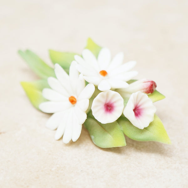 Vintage Hand Painted Porcelain Daisy Flower Bouquet Brooch, 1960s