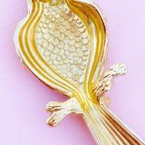 Vintage Gilded Perching Parrot Figural Bird Brooch by Swarovski, 1980s
