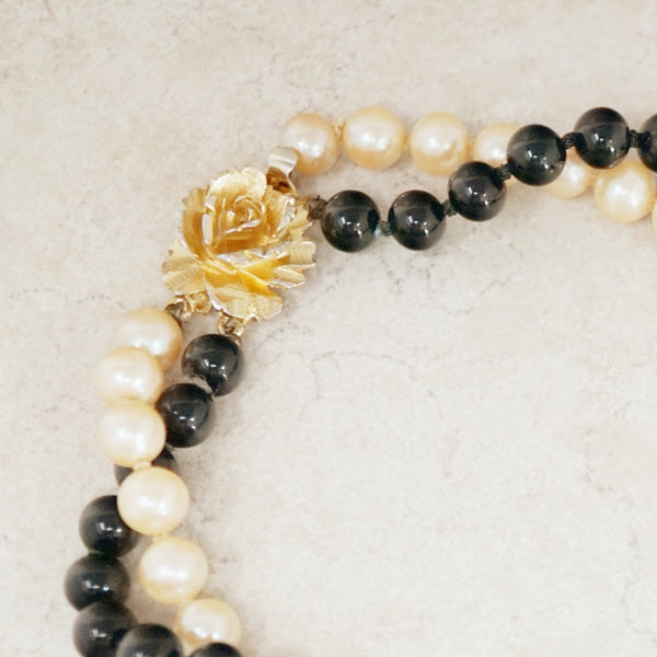 Vintage Double Strand Cream & Black Pearl Silk Knotted Choker Necklace With Gilded Rose Clasp, 1950s
