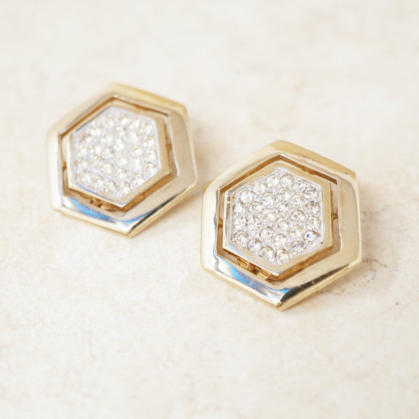 Vintage Gilded Hexagon Statement Earrings with Crystal Pavé by Panetta, 1980s