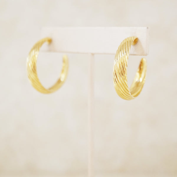 Vintage Gold Textured Hoop Earrings, 1980s
