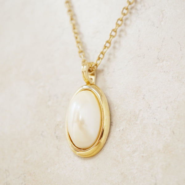 Vintage Gold Faux Pearl Pendant Necklace, 1980s