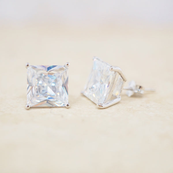 Faceted Crystal Stud Earrings