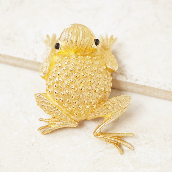 Vintage Gilded Frog Figural Brooch by Erwin Pearl, 1990s