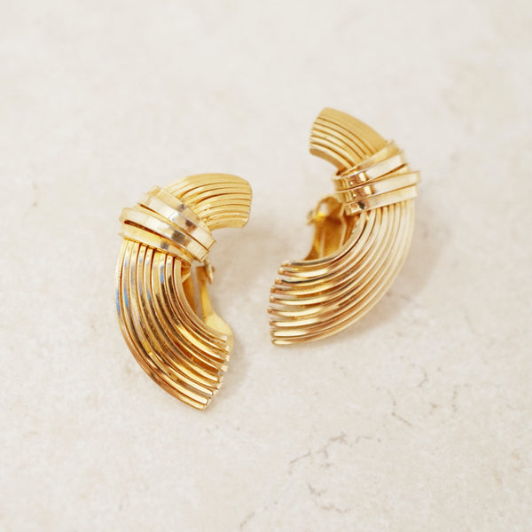Vintage Gold Half Circle Earrings by Napier, 1970s