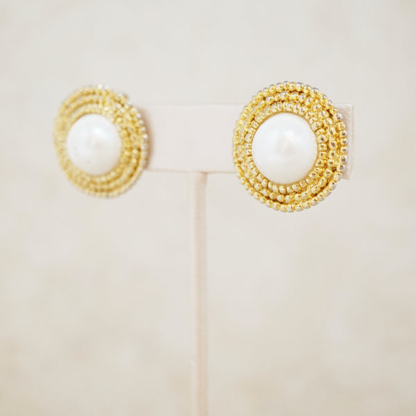 Vintage Chanel Style Pearl Button Earrings, 1960s