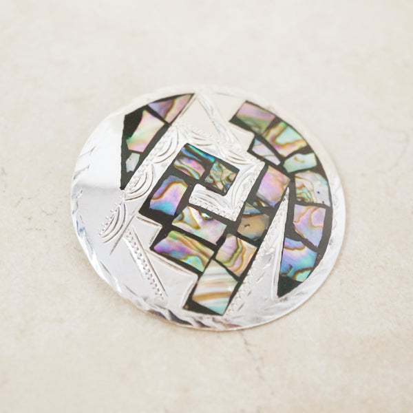 Vintage Taxco Abstract Abalone Inlay Sterling Silver Brooch