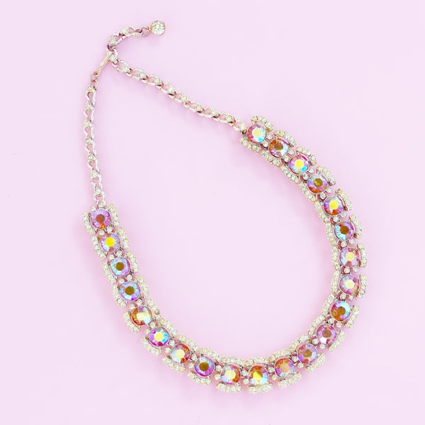 Pink Aurora Borealis Crystal Cocktail Choker Necklace, 1960s