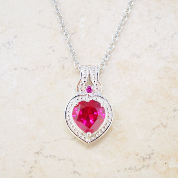 Sterling Silver and Crystal Heart Necklace