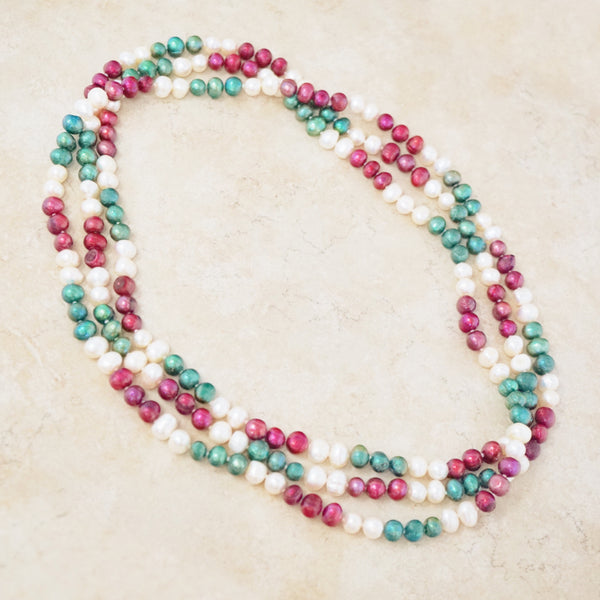 Extra Long Multicolor Pearl Necklace