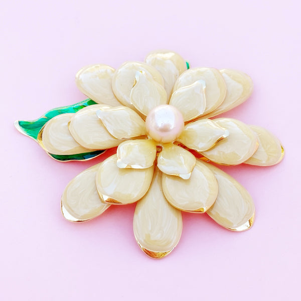 Vintage Oversized Peach Enamel Flower Figural Brooch by Joan Rivers, 1990s