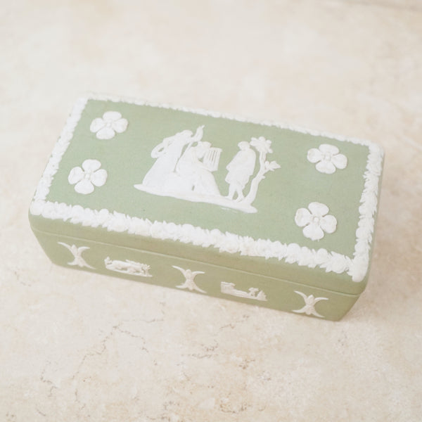 Antique Green & White Jasperware Ceramic Trinket Box by Wedgwood (Medium), 1860s