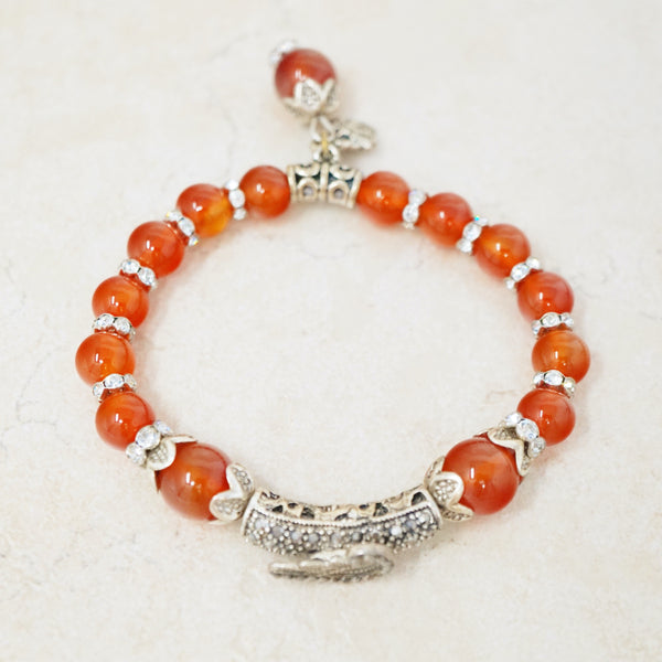 Orange Carnelian Gemstone Bracelet
