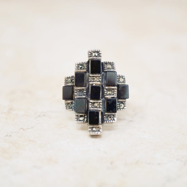 Sterling Silver, Onyx & Marcasite Ring