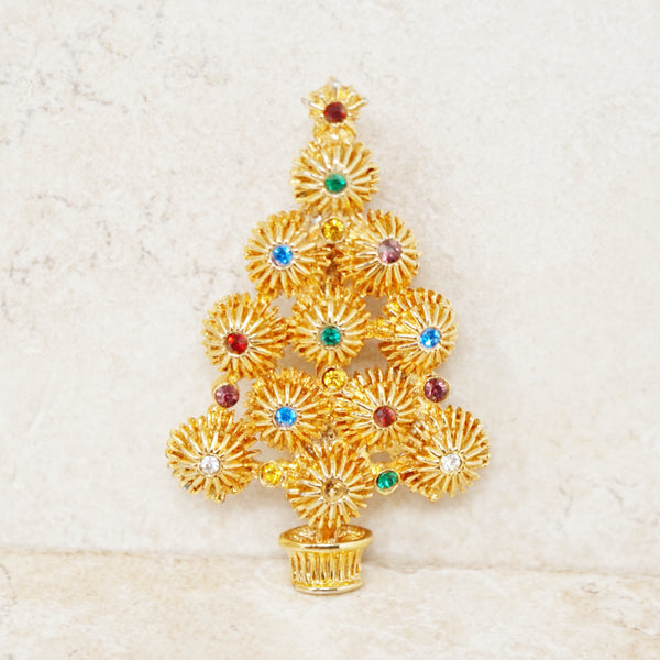 Vintage Gilded Christmas Tree Brooch with Colored Crystal Rhinestones, 1980s