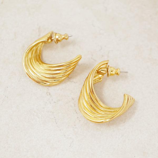Vintage Gold Twisted Hoop Earrings by Avon, 1980s