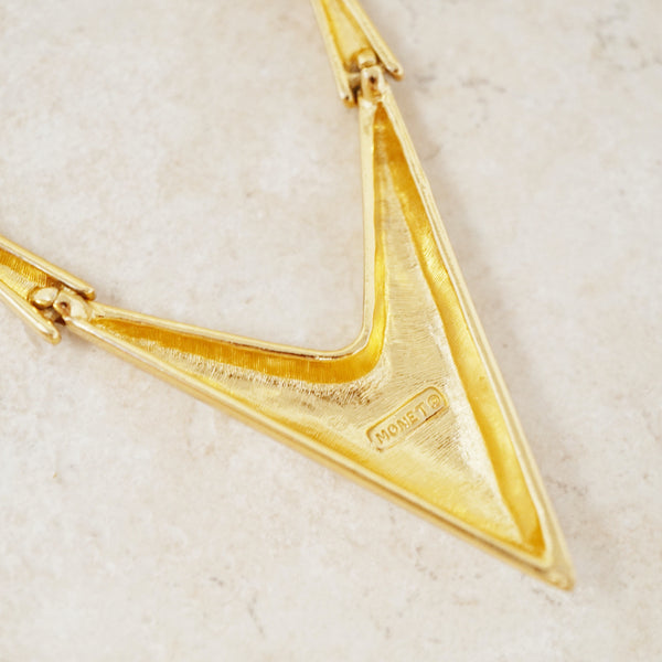 Vintage Gilded Articulated Necklace with Pointed Tip by Monet, 1980s