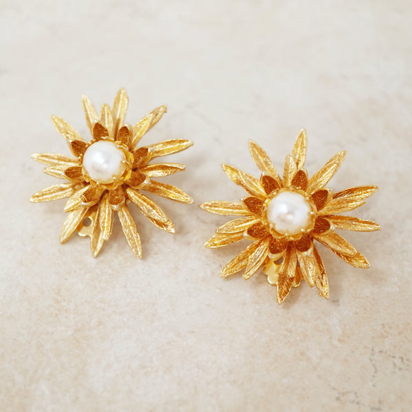 Vintage Gilded Flower Burst Earrings with Pearls, 1960s